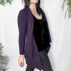 AUTUMN CASHMERE RIBBED OPEN FRONT CARDIGAN a001